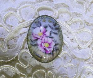 Lavender Flowers 30X40mm Glitter Unset Handmade Glass Art Bubble Cameo Cabochon