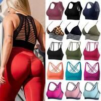 Lady Seamless Sports Bra Yoga Crop Top Padded Gym Workout Fitness Vest Racerback