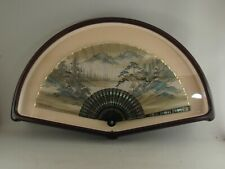 Vintage Framed Shadow Box Asian Hand Painted Hand Fan Inlaid Abalone Shell
