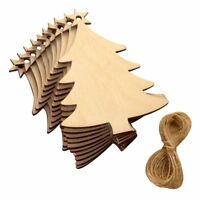10pcs Christmas tree stars wood chips home ornaments small pendant B5T6