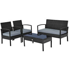 4PCS Outdoor Patio Rattan Furniture Set Cushioned Sofa Coffee Table Chair Deck