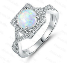 Woman Classical Round Cut White Fire Opal CZ Platinum Plated Ring Sz 6 7 8 9 10