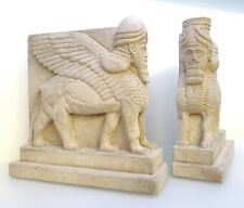 Pair of Assyrian Lamassu Book Ends, Carved Stone Guardians, Museum Reproduction