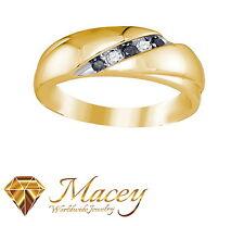 10K Yellow Gold Twilight Black Diamond Handsome Band Ring .22Ct
