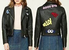 Graphic Patch Moto Biker Grunge 90s Leather Jacket Coat Blazer women's sz SMALL
