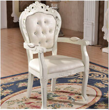 New French Provincial Armchairs Dining Chair Vintage Queen Anne Back Wooden legs