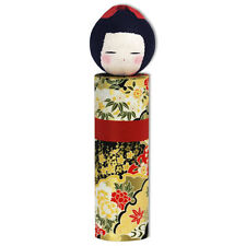 "Japanese 8.5""H Kokeshi Washi Paper Ningyo Doll Floral Kimono Girl, Made in Japan"