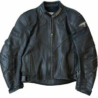 Teknic Perforated Armored Black Leather Cafe Racer Motorcycle Jacket Mens 44/54