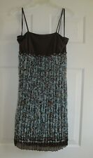 b.i.g.a.g.c.d.a. stretch straps braided waistband crinkle sheer print brown/teal