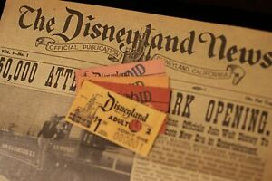 Disneyland News 1955 2003 Walt Disney Archives Facsimile + Attraction Tickets
