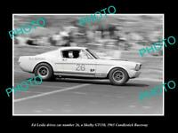 POSTCARD SIZE PHOTO OF ED LESLIE DRIVING HIS FORD MUSTANG SHELBY 350 GT 1965