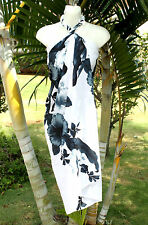 Sarong Hawaiian Beach Cover-up Skirt Wrap Dress ~ WHITE WITH LARGE GRAY HIBISCUS