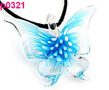 Handmade Fashion Chic Lifelike Blue Butterfly art lampwork glass pendant JP321