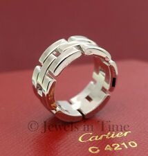 Cartier Panthere 18K White Gold Ladies Ring Size 49 with Box & Certificate