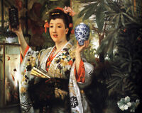 """Art Oil painting Joseph Tissot - Young Lady Holding Japanese Objects canvas 36"""""""