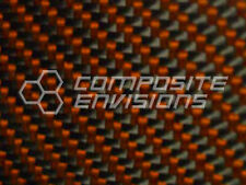 "Carbon Fiber Orange Kevlar Panel Sheet .093""/2.4mm 2x2 twill - EPOXY-12"" x 48"""