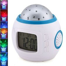 Vlio Music Led Star Sky Projection Digital Alarm Clock Calendar Thermometer Kids