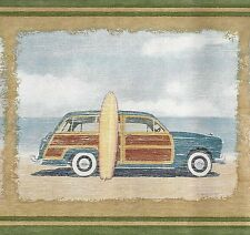 Surfing Beach - Dune Buggy - VW Van - Ford Wagon ONLY $9 - Wallpaper Border A068