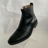 Giorgio Brutini Mens Ankle Boots Black Leather Zip Plain Toe Block Heel Sz 9.5M
