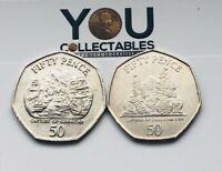 Gibraltar 50p Fifty Pence Coin - Capture of Gibraltar - Choice of Date RARE