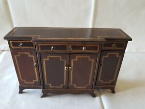 Dolls house artisan Jim Traill-Hill vintage inlaid break front sideboard signed