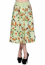 S MINT GREEN VINTAGE BIRDS BUTTERFLY SKIRT RETRO SPRING 10 ROCKABILLY FLORAL