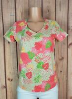 PALM HARBOUR Womens Small Short Sleeve Shirt Vneck Leaf Print Cotton/Poly Top