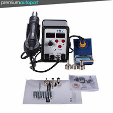 898D+ 2in1 SMD Rework Soldering Station Solder ESD Tips BGA Hot Air Nozzles KIT