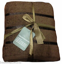 5 PC TOWEL BALE STRIPE CHOCOLATE BROWN LUXURIOUS 100% EGYPTIAN COTTON 500 GSM