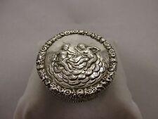 wunderschöne Pillendose / Tabatiere Silber 800 Putto Dekor ~ 1900