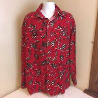 Unbranded Mens Red Flannel 2XL Shirt Pearl Snap Western Cowboy Hunting Deer Bear