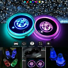 2PCS LED Car Cup Holder Pad Coaster Light 7 Colors USB Charging for ALFA ROMEO