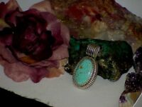Rare Vintage 1989 Carol Felley Sterling Kingman Turquoise Native Pendant 25.0Gr