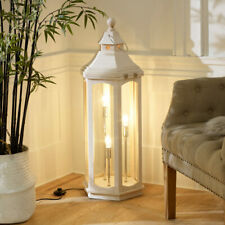 Tall white washed wooden lantern style floor lamp lighting rustic home decor