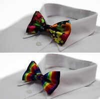 MENS MULTICOLOURED RAINBOW COLOURFUL BOW TIE SILK PRE-TIED  BOWTIE WEDDING PARTY