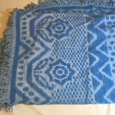 "Blue Chenille Bedspread 98"" x 100"" Vintage"