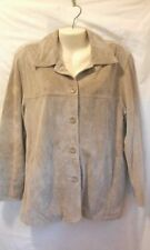 ST JOHNS BAY WASHABLE SUEDE JACKET GENUINE LEATHER SOFT TAN SIZE S