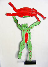 CLAUDINE BUELL ORIGINAL SCULPTURE FROG ACROBATS ACRYLIC ON TORCH CUT STEEL
