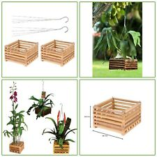 2 Pk 10 In Wooden Square Hanging Basket Orchid Flower Fern Patio Porch Pot Decor