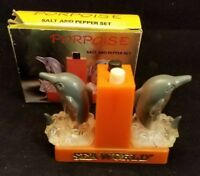 "Collectible Porpoise Salt & Pepper Shakers Sea World 2.75"" With Box"