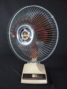 "Vintage Galaxy 12"" 3-Speed Oscillating Table Fan Cream/Brown Amber K1-C"