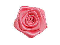 5 x Coloured Satin Rose 1.5 inch Appliques For Dress Making Wedding Sew Glue On