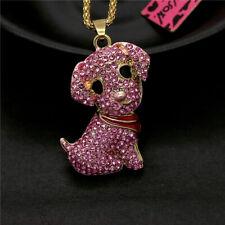 Scarf Puppy Dog Chain Necklace Betsey Johnson Shiny Rhinestone Pink Crystal