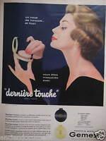 PUBLICITÉ 1957 GEMEY CRÈME ET POUDRE DERNIÈRE TOUCHE - ADVERTISING