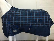 AXIOM 1200D RIPSTOP DARK BLUE CHECK/NAVY 300gm PADDOCK HORSE RUG - 6' 9