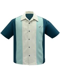 Steady Clothing Atomic Mad Men Rockabilly Teal Bowling Button Down Shirt ST35309