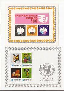 SINGAPORE- 2 souvenir sheets- Children/women topics- low price(MNH)
