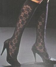 High Quality Black Patterned Knee High Tights. Pop Socks. Italian designer made