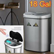 Recycling Trash Bin Double Garbage Sorter Touchless Can Stainless Steel 18.5 Gal