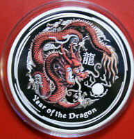 "Australien 1 Dollar 2012 Silber 1 Oz  #F3999 ""Year of the Dragon"" PP-Proof Color"